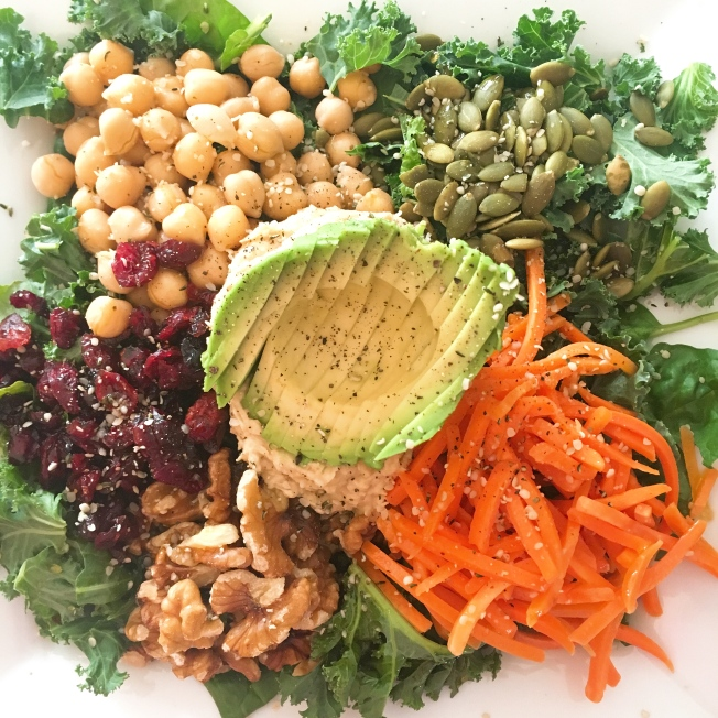 plant based, buddha bowl, spinach, avocado, salad, hummus, chickpeas, carrots, healthy, lunch, recipes