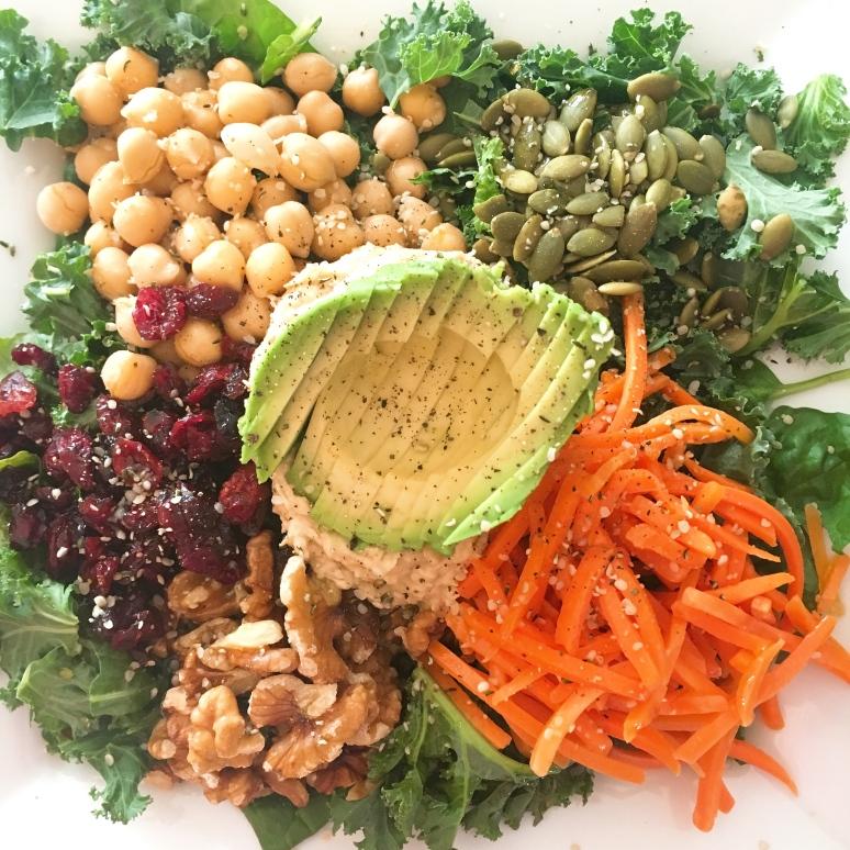 plant based, buddha bowl, spinach, avocado, salad, hummus, chickpeas, carrots, healthy, lunch, recipes